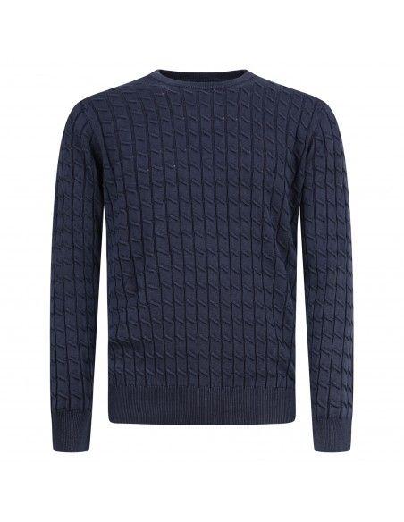 Blu Cashmere - Maglione girocollo blu con lavorazione a trecce per uomo  