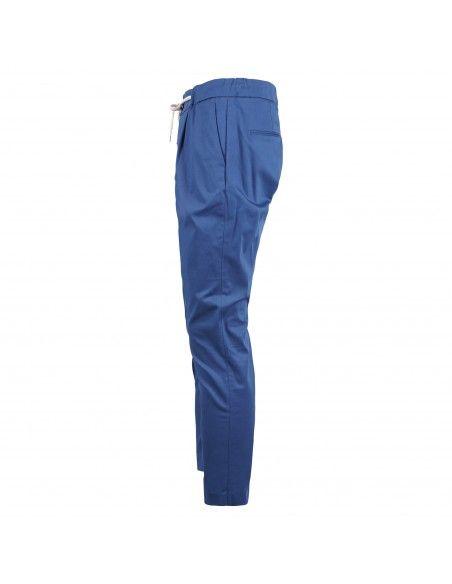 Luca Bertelli - Pantalone azzurro con elastico coulisse e pinces per uomo  