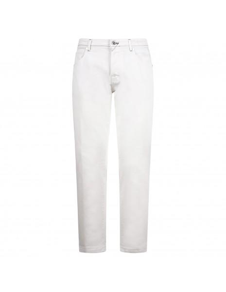 BRO - SHIP - Pantalone bianco cinque tasche con lavorazione per uomo  