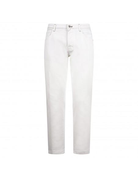 BRO - SHIP - Pantalone bianco cinque tasche con lavorazione per uomo |