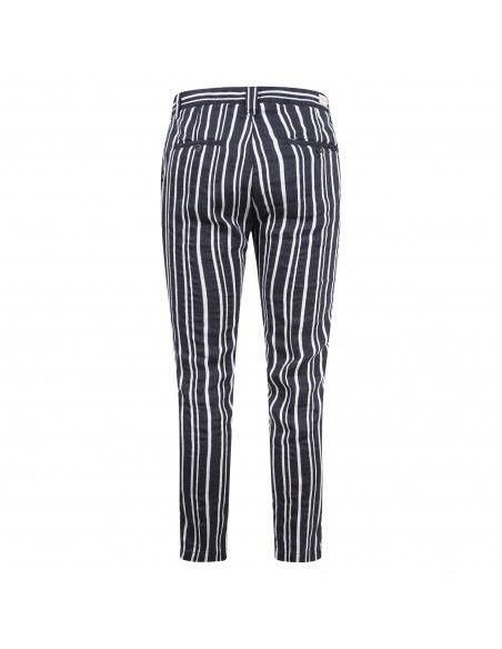 Officina36 - Pantaloni blu rigato con coulisse per uomo | 2662tp omeo