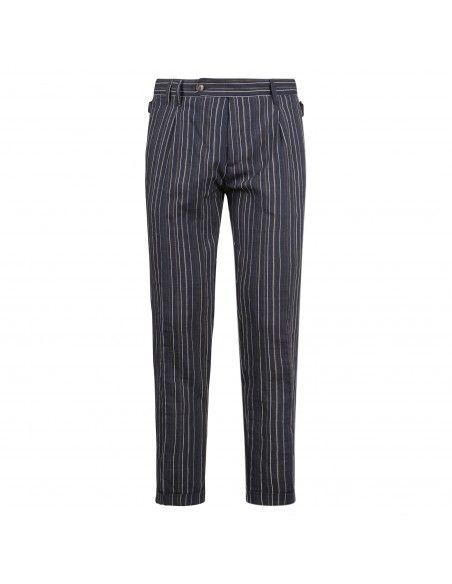 Officina36 - Pantaloni blu rigato per uomo   2665tp iona 0266507573 blu