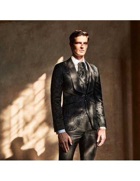 Lubiam 1911 Cerimonia - Abito smoking rever sciallato damascato nero per uomo |