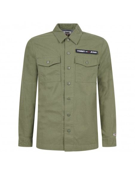 Tommy Jeans - Camicia verde con patch logo per uomo | dm0dm07512