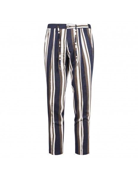 Havana & Co - Pantalone multicolore rigato tasca a filo con elastico e coulisse