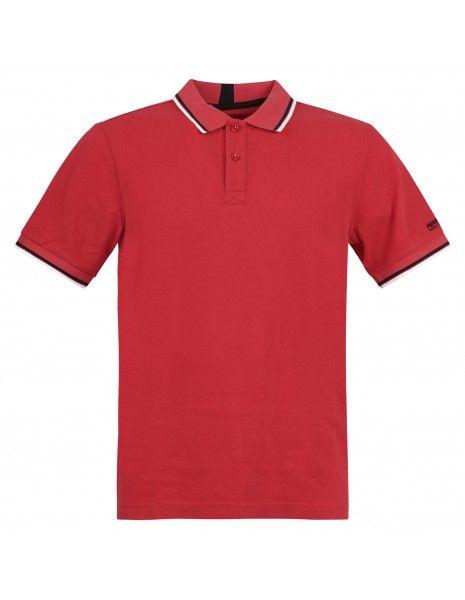 Penn-Rich Woolrich - Polo rossa manica corta con bordino per uomo |
