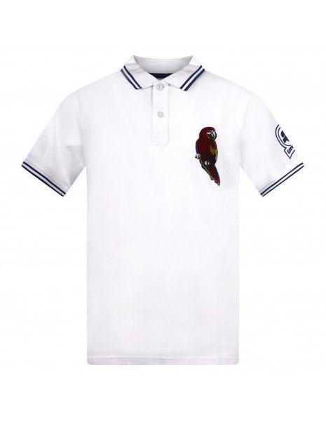 Invicta - Polo bianca manica corta con patch pappagallo per uomo   4451228/u01