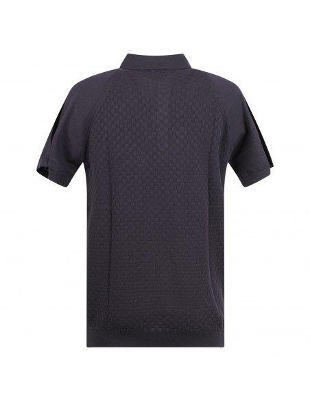Pal Zileri - Polo blu in maglia di cotone a manica corta con lavorazione per