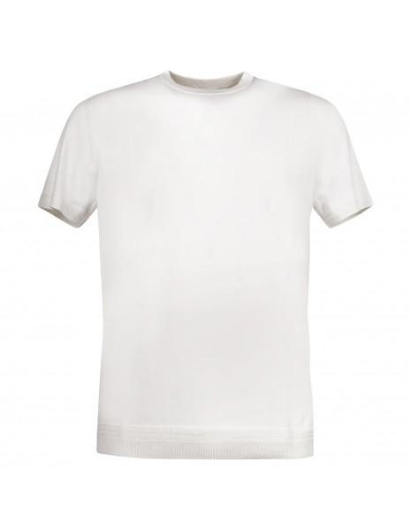 Pal Zileri - T-shirt bianca in maglia di cotone a manica corta per uomo  