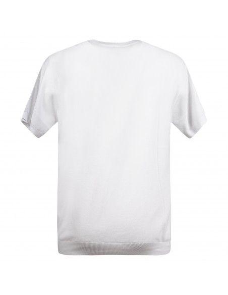 Pal Zileri - T-shirt bianca in maglia di cotone a manica corta con lavorazione