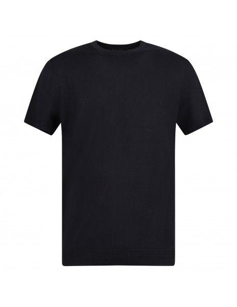 Pal Zileri - T-shirt blu in maglia di cotone a manica corta per uomo   pm0m550