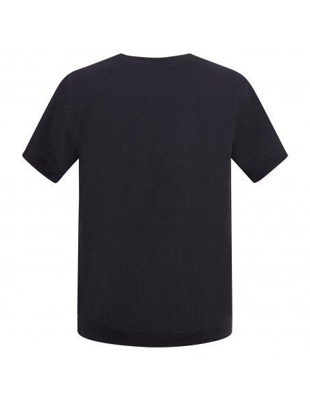 Pal Zileri - T-shirt blu in maglia di cotone a manica corta con lavorazione per
