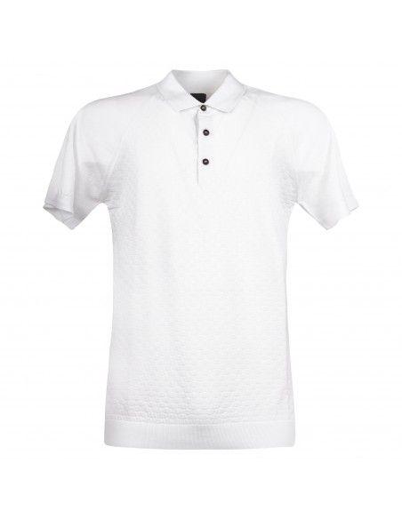 Pal Zileri - Polo bianca in maglia di cotone a manica corta con lavorazione per
