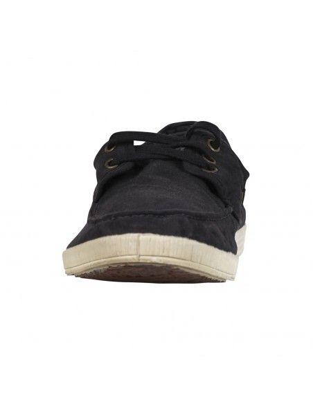 - Mocassino nero con lacci in cotone organico per uomo | 303-501 negro