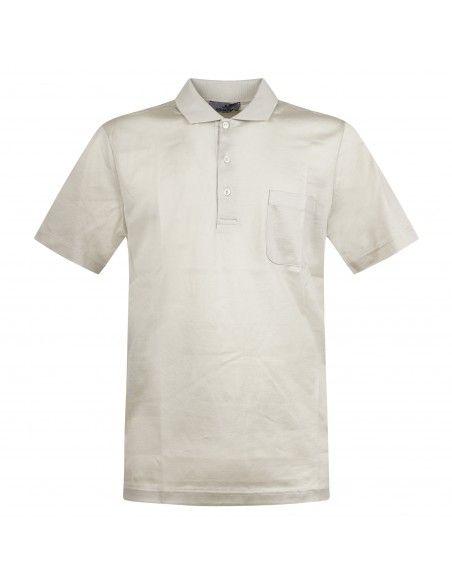 Ocean Star - Polo beige manica corta con taschino per uomo | tennis 7293 0075