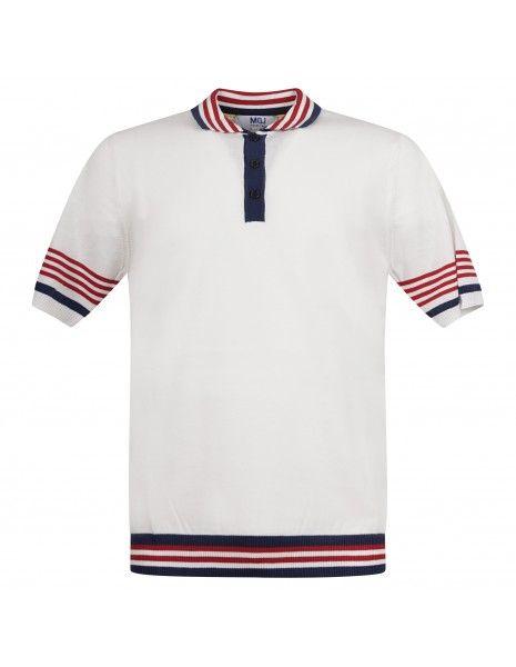 MQJ - Polo bianca in maglia di cotone a manica corta con il collo a righe per