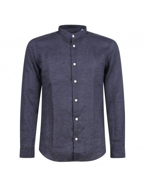 Lavorazione Sartoriale - Camicia blu coreana in lino slim fit per uomo | ostuni