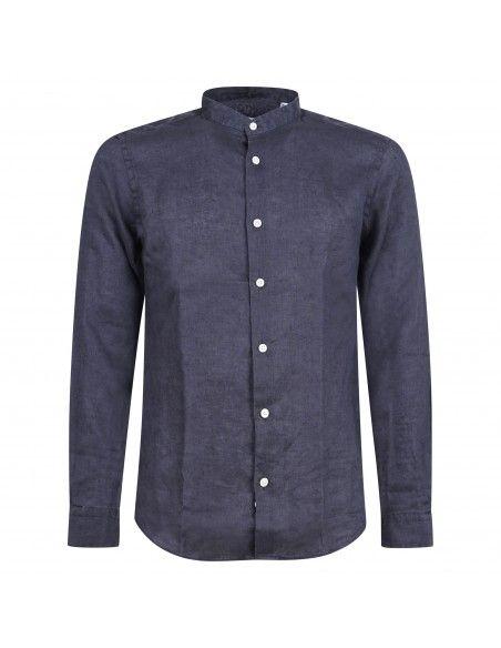 Lavorazione Sartoriale - Camicia blu coreana in lino custom fit per uomo |