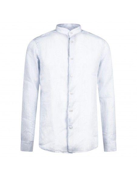 Lavorazione Sartoriale - Camicia celeste coreana in lino slim fit per uomo |