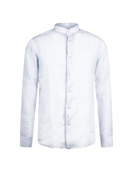 Lavorazione Sartoriale - Camicia celeste coreana in lino custom fit per uomo |