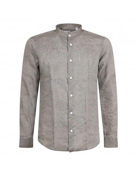 Lavorazione Sartoriale - Camicia verde coreana in lino slim fit per uomo |