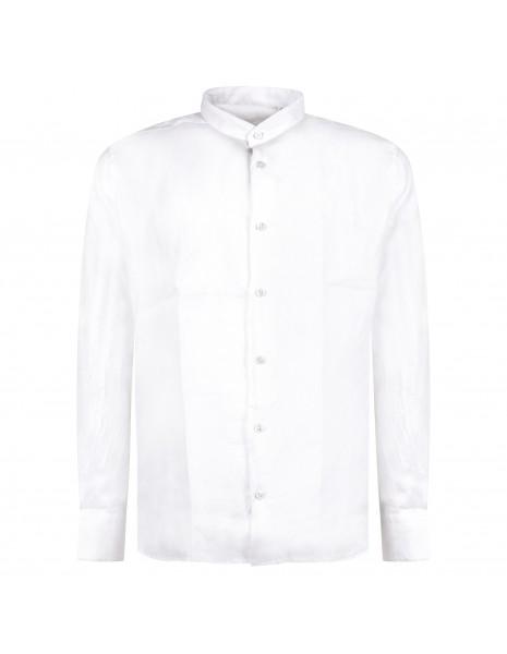 Lavorazione Sartoriale - Camicia bianca coreana in lino slim fit per uomo  