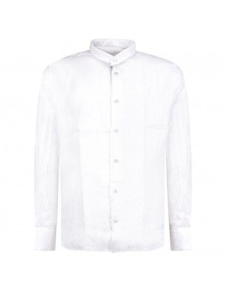 Lavorazione Sartoriale - Camicia bianca coreana in lino custom fit per uomo |