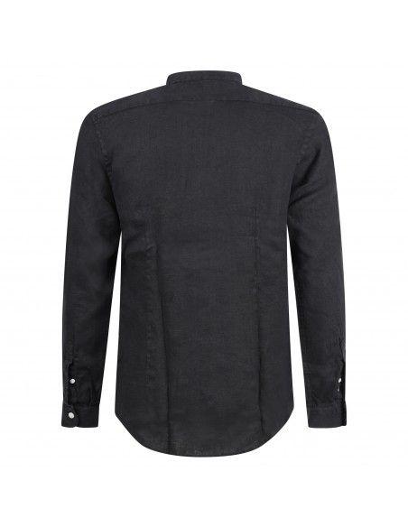 Lavorazione Sartoriale - Camicia nera coreana in lino custom fit per uomo |