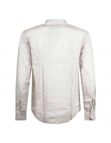 Lavorazione Sartoriale - Camicia beige coreana in lino custom fit per uomo |
