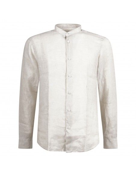 Lavorazione Sartoriale - Camicia beige coreana in lino slim fit per uomo |