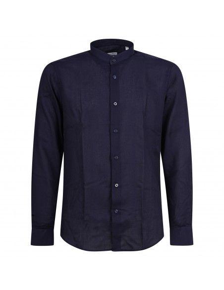 Lavorazione Sartoriale - Camicia blu coreana slim fit con lavorazione per uomo