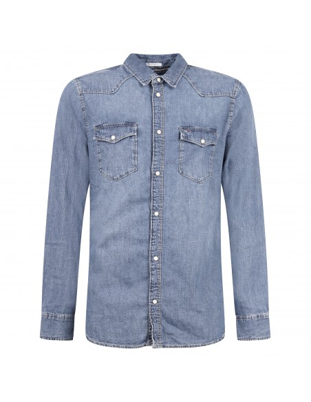 Tommy Jeans - Camicia jeans in denim con tasche sul petto per uomo   dm0dm06667