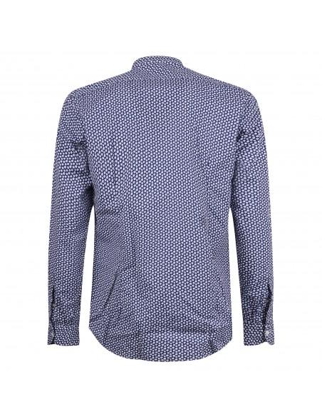 Lavorazione Sartoriale - Camicia blu coreana custom fit con stampa a fiori per