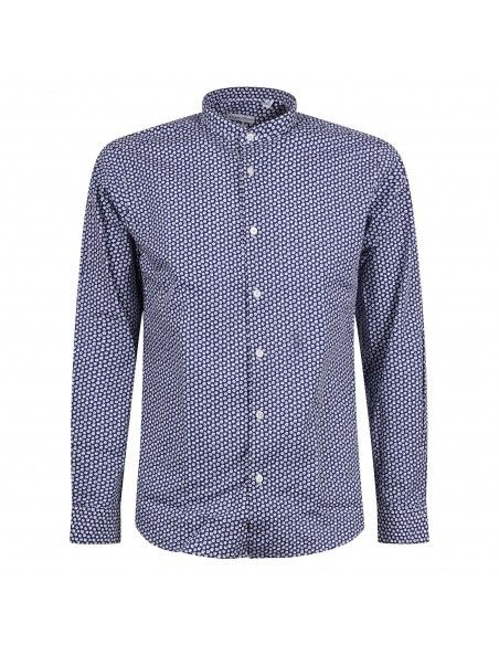 Lavorazione Sartoriale - Camicia blu coreana slim fit con stampa a fiori per