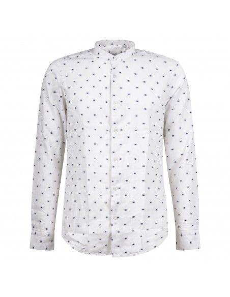Lavorazione Sartoriale - Camicia bianca coreana slim fit lavorata per uomo |