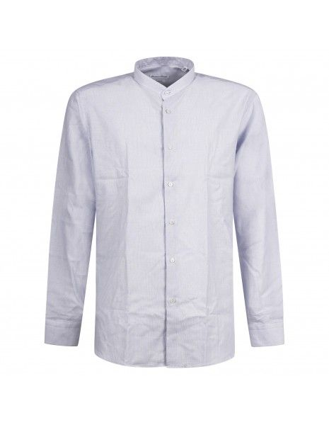Lavorazione Sartoriale - Camicia celeste coreana custom fit lavorata per uomo |