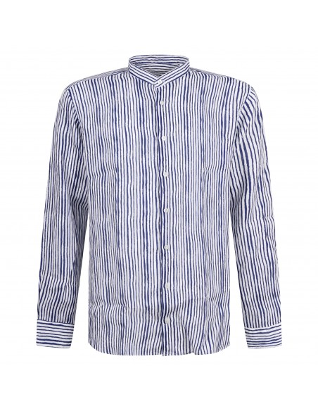 Lavorazione Sartoriale - Camicia bianca rigata coreana custom fit per uomo  