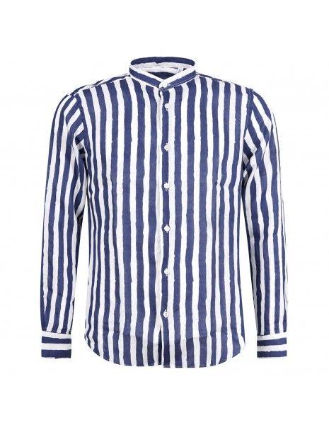 Lavorazione Sartoriale - Camicia bianca rigata coreana slim fit per uomo | kush