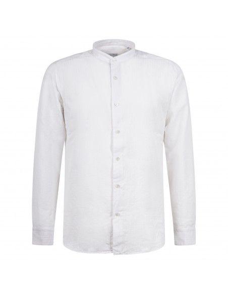 Lavorazione Sartoriale - Camicia bianca rigata coreana slim fit per uomo |