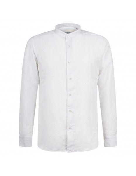 Lavorazione Sartoriale - Camicia bianca rigata coreana custom fit per uomo |