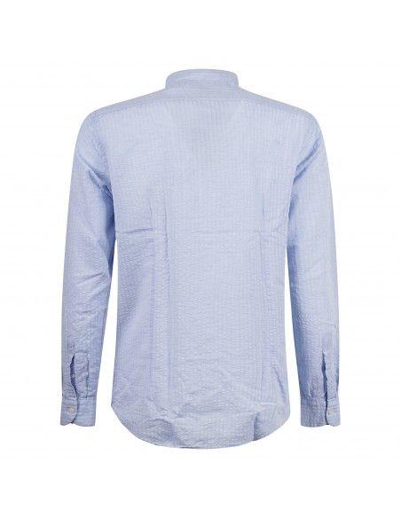 Lavorazione Sartoriale - Camicia celeste rigata coreana custom fit per uomo |