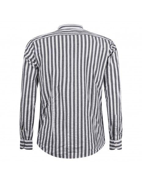 Lavorazione Sartoriale - Camicia bianca rigata coreana slim fit per uomo  