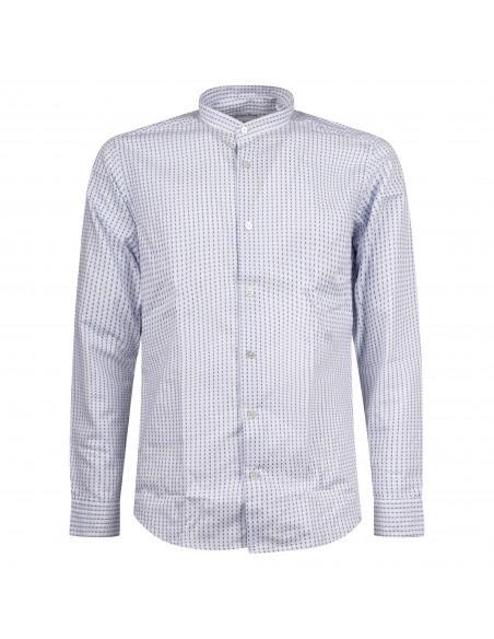 Lavorazione Sartoriale - Camicia bianca coreana slim fit stampa pois per uomo |
