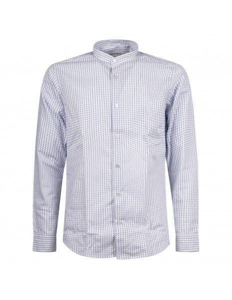 Lavorazione Sartoriale - Camicia bianca coreana custom fit stampa pois per uomo