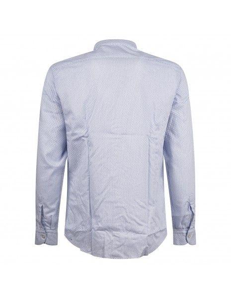 Lavorazione Sartoriale - Camicia celeste coreana slim fit stampa pois per uomo
