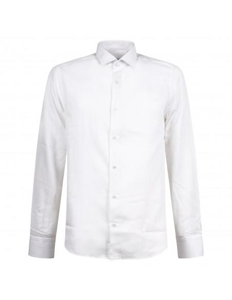 Lavorazione Sartoriale - Camicia bianca slim fit con lavorazione per uomo |
