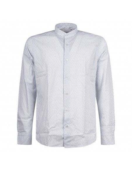 Lavorazione Sartoriale - Camicia bianca coreana custom fit con stampa jacquard