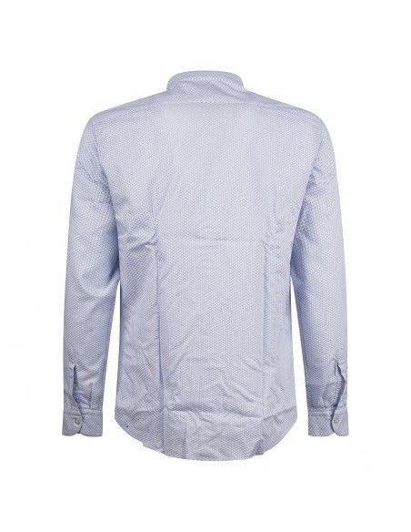 Lavorazione Sartoriale - Camicia celeste coreana custom fit stampa pois per