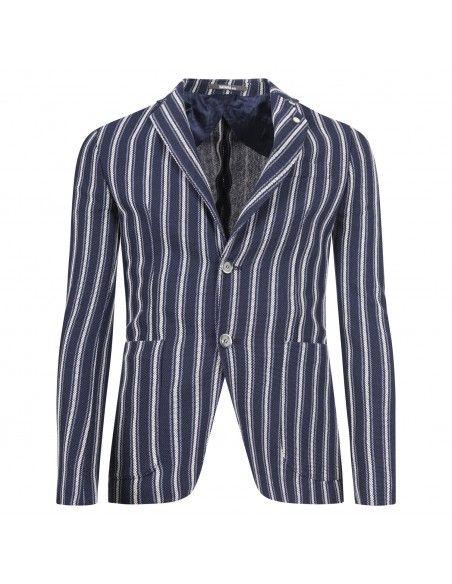Havana & Co - Giacca blu rigata in jersey per uomo | h2396j g5162jr 50 blu