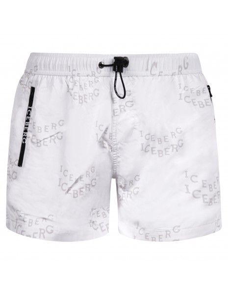 Iceberg Beachwear - Bermuda mare bianca con stampa logo allover e coulisse per